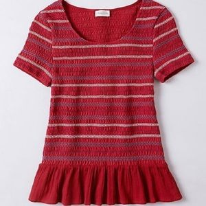 Anthropologie meadow rue red peplum top Small